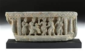 Gandharan Schist Relief Panel  Revelers