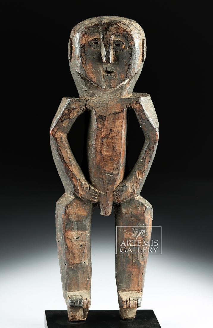 Early 20th C. Nepalese Wood Standing Guardian Figure