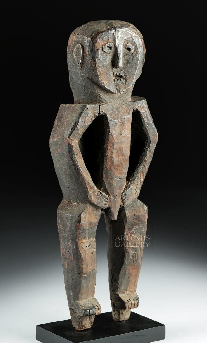 Early 20th C. Nepalese Wood Standing Guardian Figure - 2