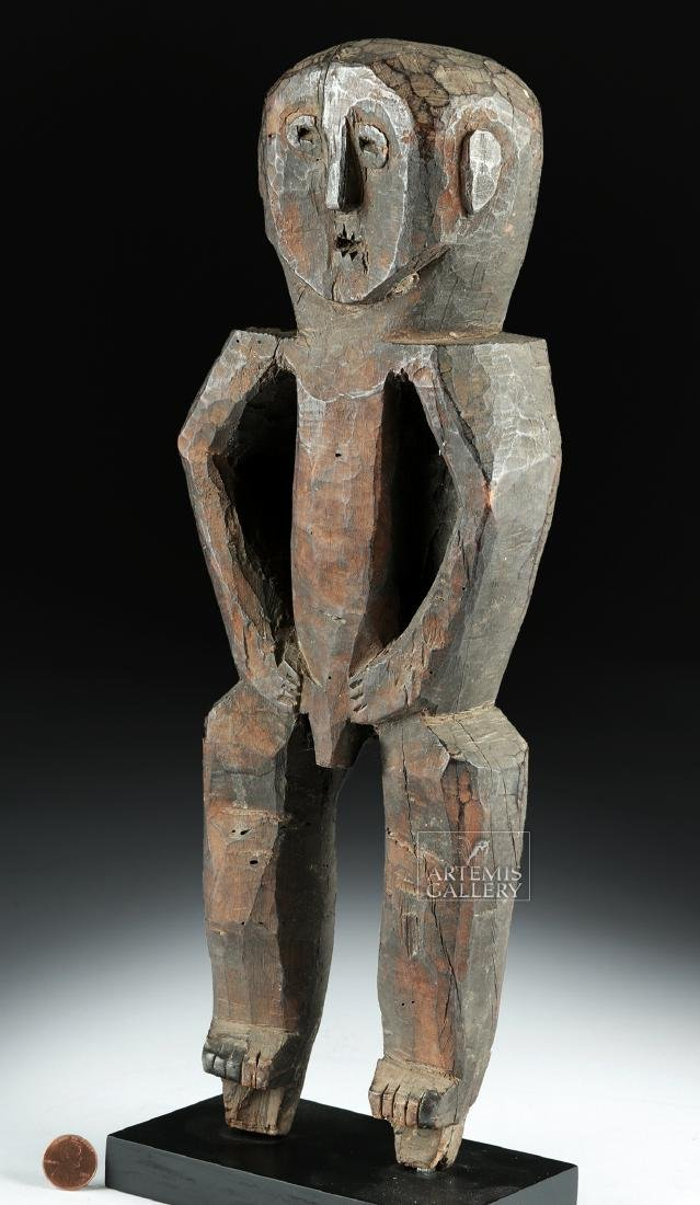 Early 20th C. Nepalese Wood Standing Guardian Figure - 3