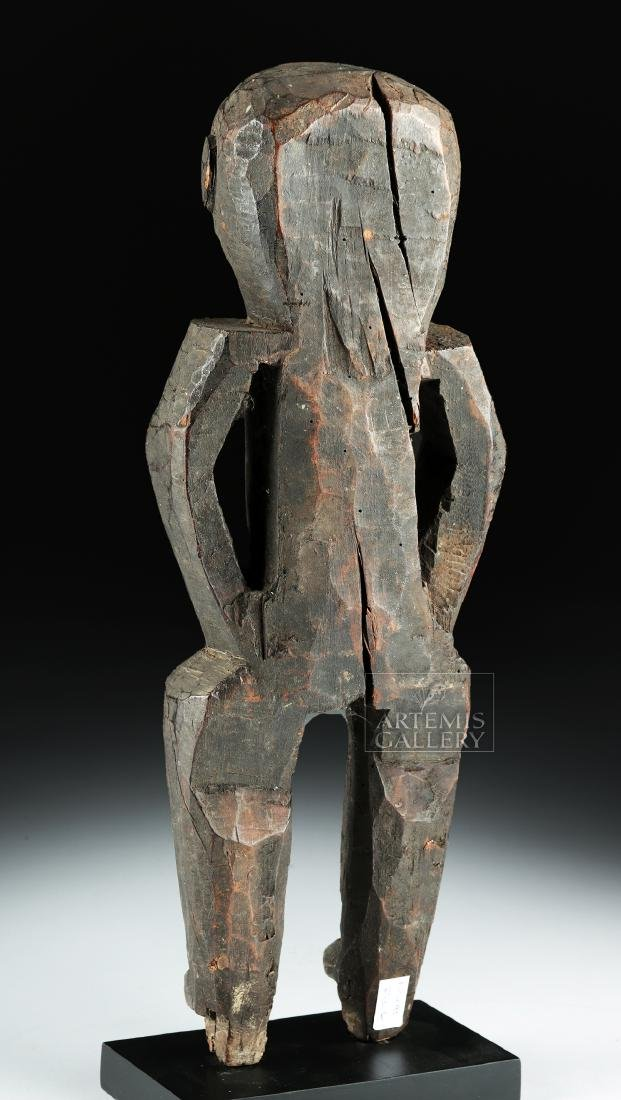 Early 20th C. Nepalese Wood Standing Guardian Figure - 4