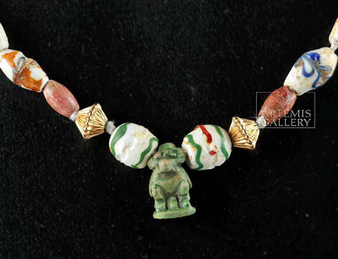 Ancient Roman & Egyptian Glass & Faience Bead Necklace - 3