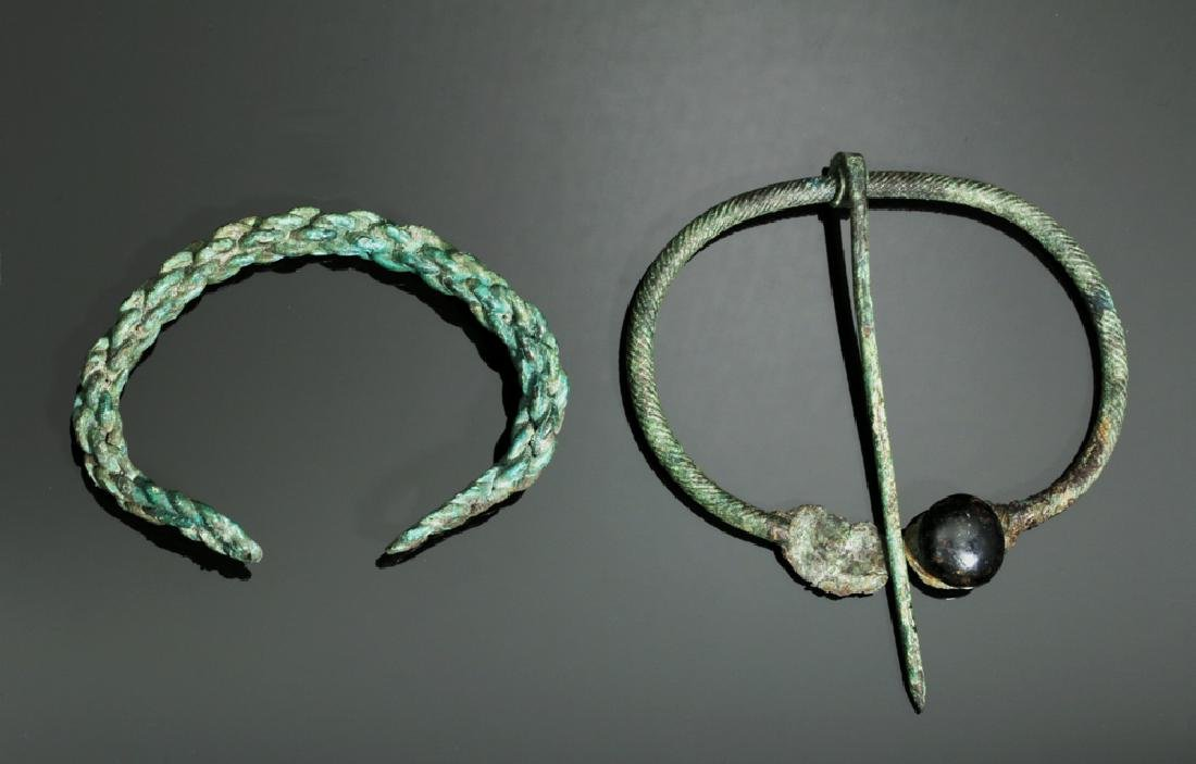 Viking Twisted Bronze Bracelet and Brooch