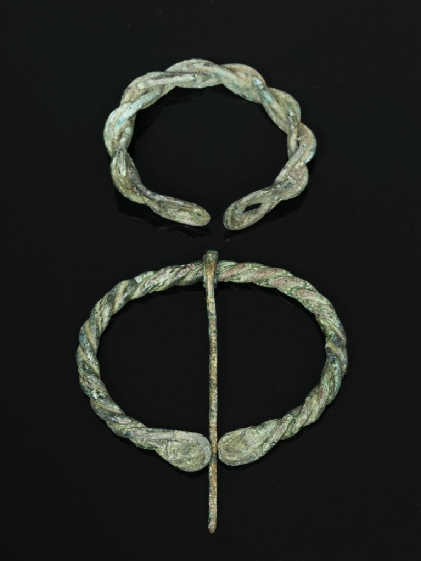 Ancient Viking Braided Bronze Brooch and Bracelet