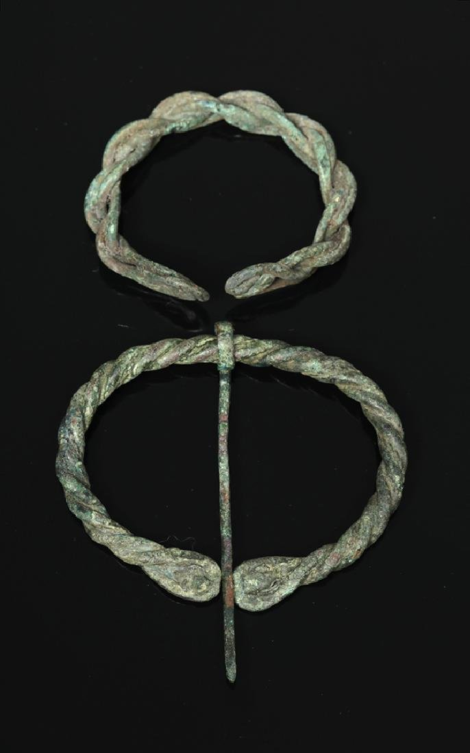 Ancient Viking Braided Bronze Brooch and Bracelet - 2