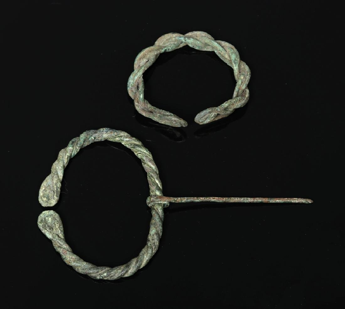 Ancient Viking Braided Bronze Brooch and Bracelet - 3