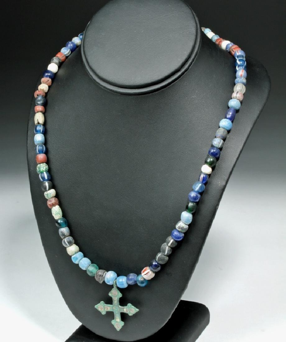 Viking Glass Bead Necklace w/ Bronze Cross