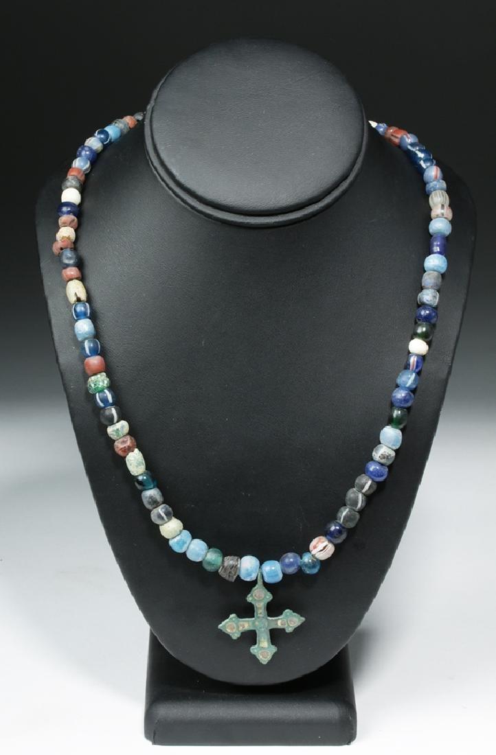 Viking Glass Bead Necklace w/ Bronze Cross - 2