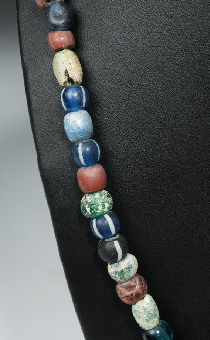 Viking Glass Bead Necklace w/ Bronze Cross - 4