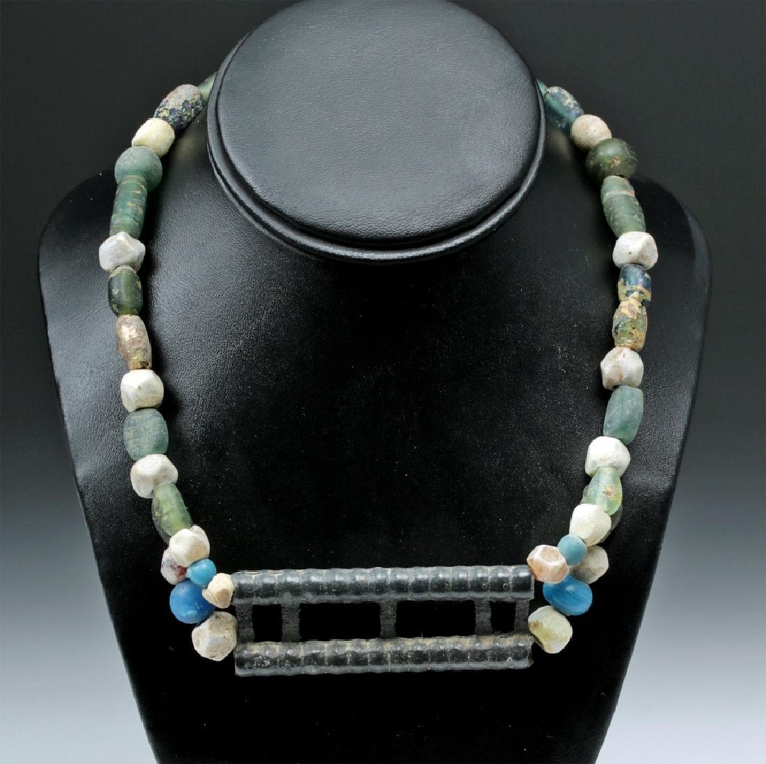 Viking Glass Beaded Necklace w/ Large Bronze Pendant