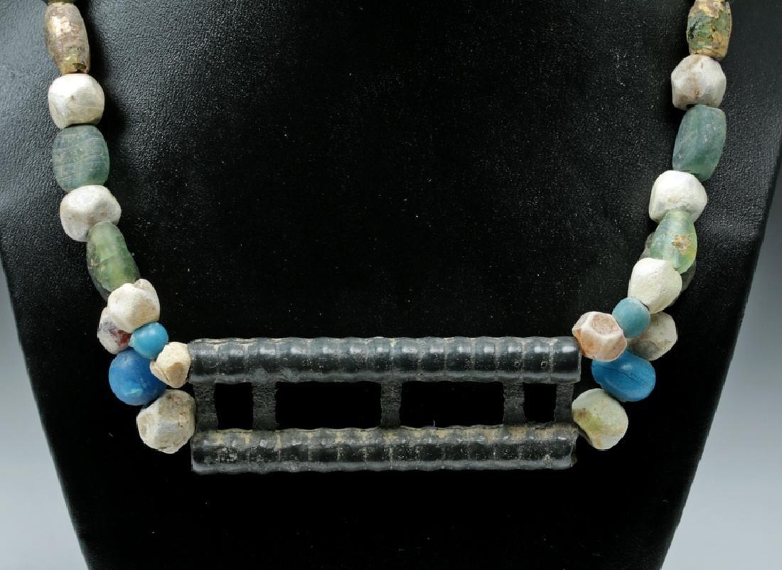Viking Glass Beaded Necklace w/ Large Bronze Pendant - 2