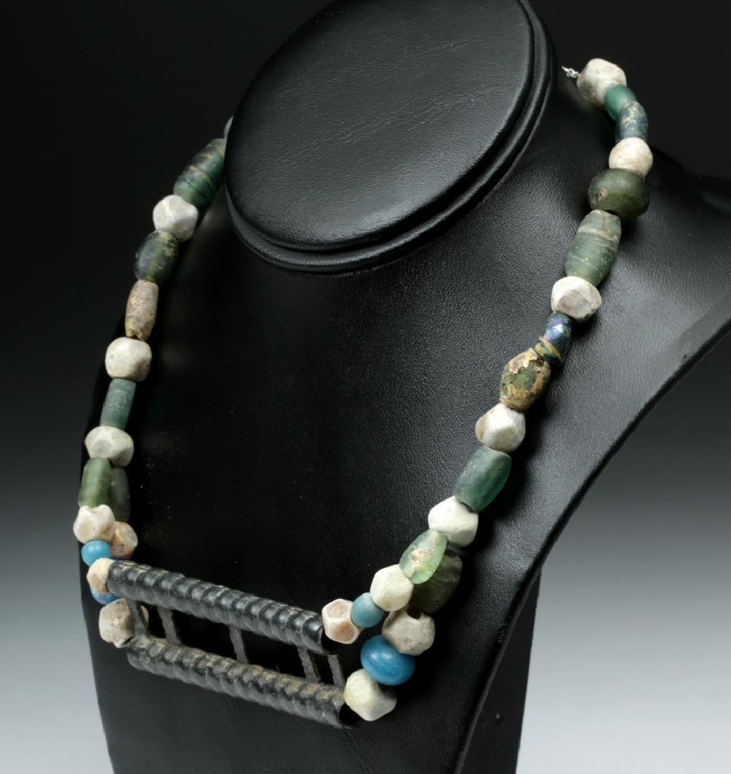 Viking Glass Beaded Necklace w/ Large Bronze Pendant - 3