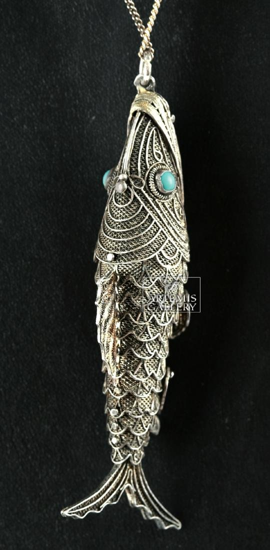Vintage Chinese Silver Fish Necklace - Turquoise Eyes - 3