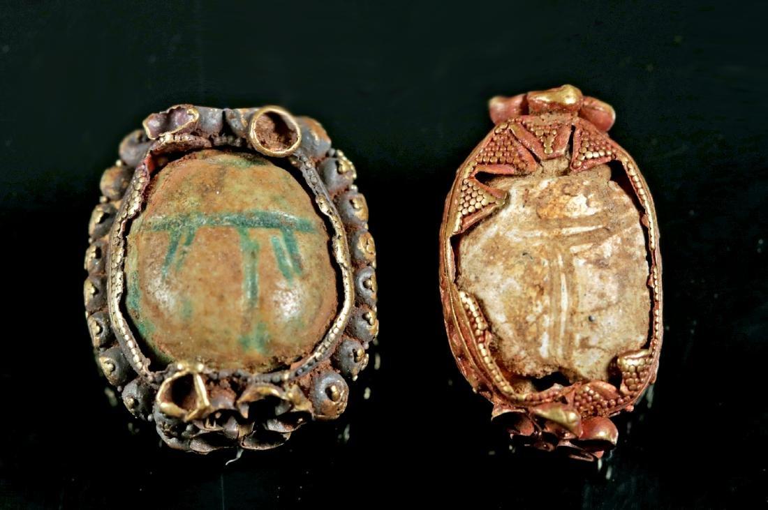 Lot of 2 Egyptian Scarabs / Etruscan 15K+ Gold Bezels