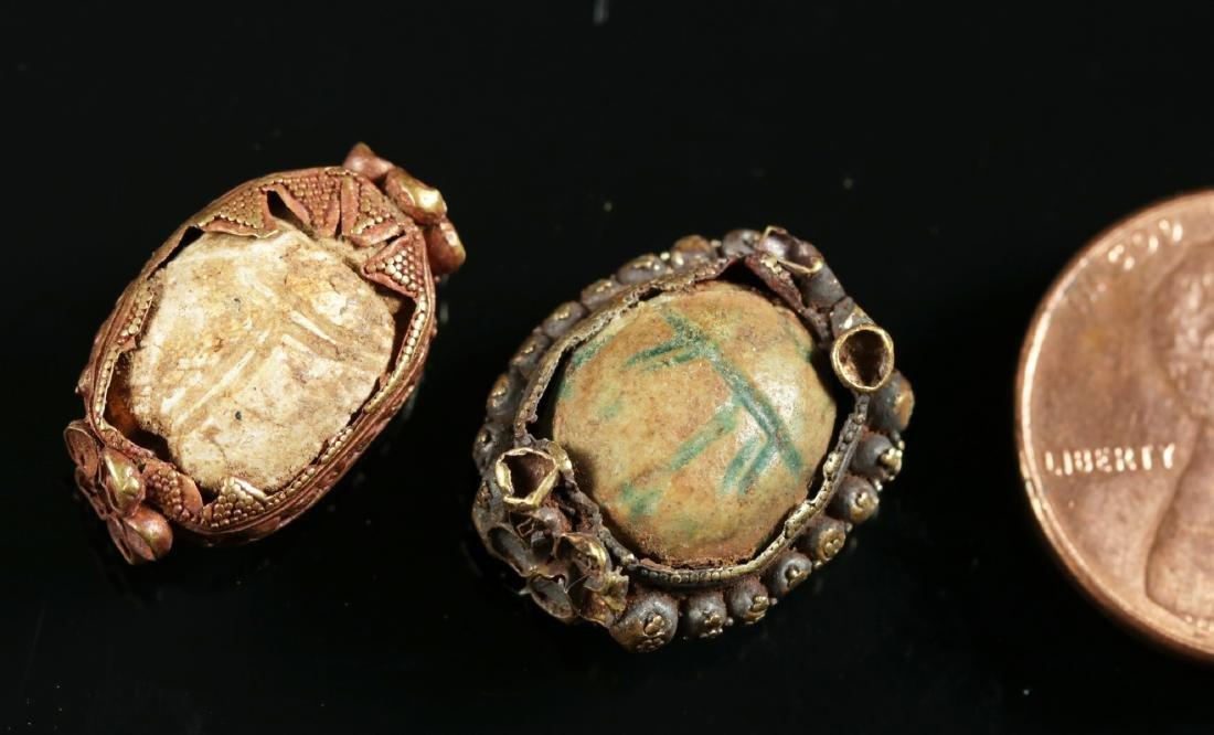 Lot of 2 Egyptian Scarabs / Etruscan 15K+ Gold Bezels - 3