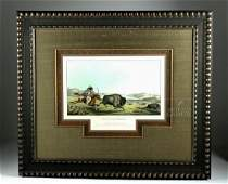 1837 Color Lithograph Hunting the Buffalo, Rindisbacher