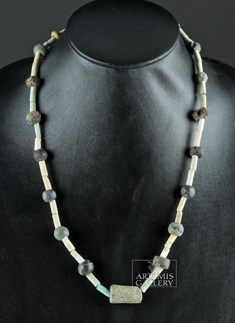 Sumerian Faience, Stone, & Glass Beaded Necklace