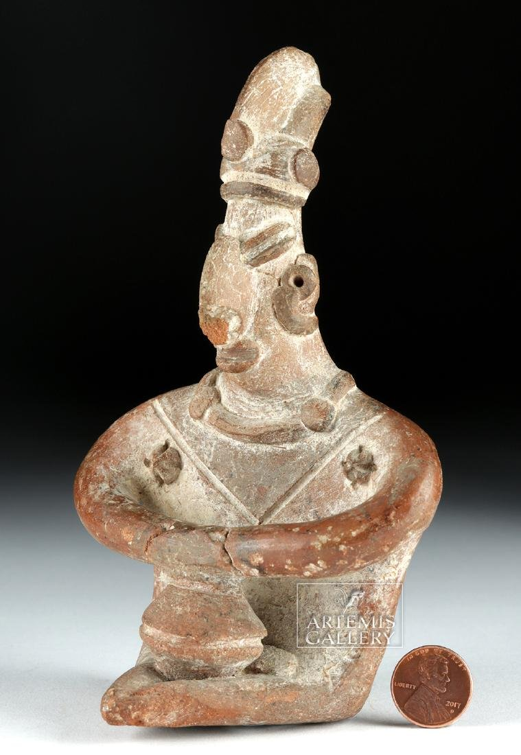 Colima Pottery Seated Figure w/ Bowl