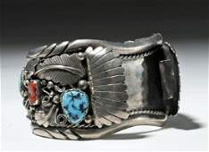 Vintage Navajo Silver, Turquoise & Coral Watch Band