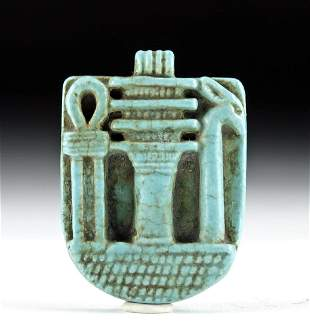 Egyptian Faience Amulet w/ Djed, Ankh, & Was Scepter
