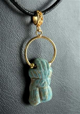 Romano-Egyptian Faience / Gold Pendant - Phallus