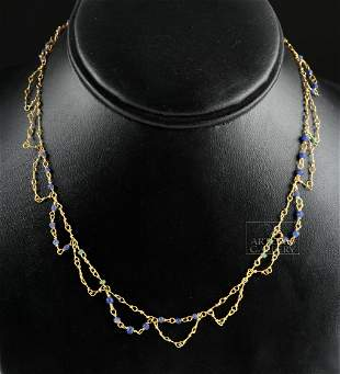 Rare Hellenistic 23K+ Gold & Glass Bead Necklace