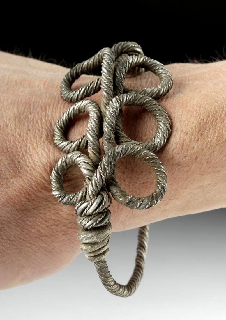 Large Viking Silver Twisted Wire Bracelet - 83.8 g