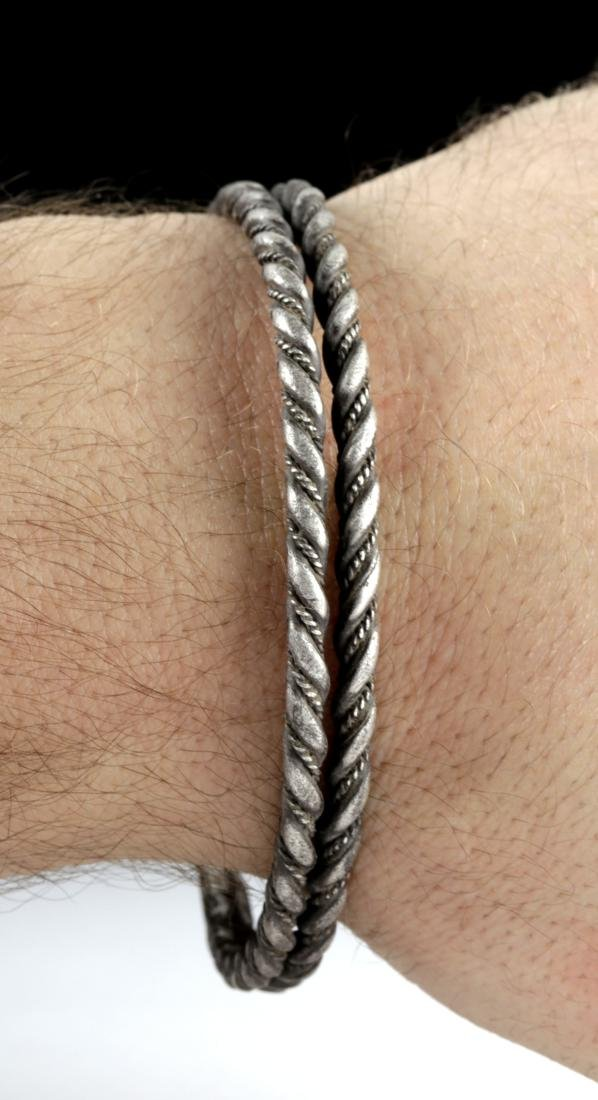 Viking Silver Twisted Double Wire Bracelet, 49.4 g