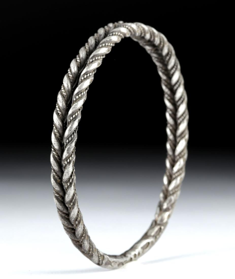 Viking Silver Twisted Double Wire Bracelet, 49.4 g - 4
