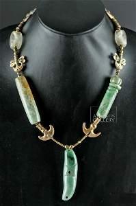 Olmec Jade Necklace w/ Tairona Gold Zoomorphs
