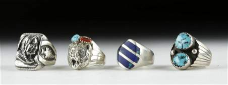 Four 20th C. Native American Silver & Stone Rings