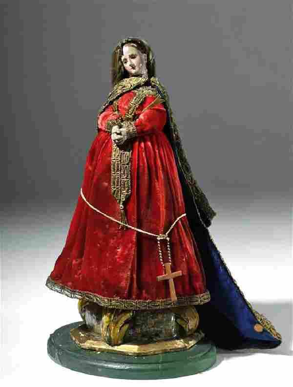 19th C. Mexican Wood Santo - Virgin Mary