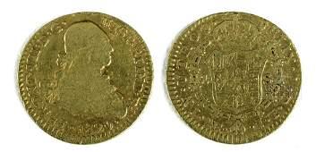 19th C. Spanish Colonial Bogota Mint Gold Escudo- 3.2 g