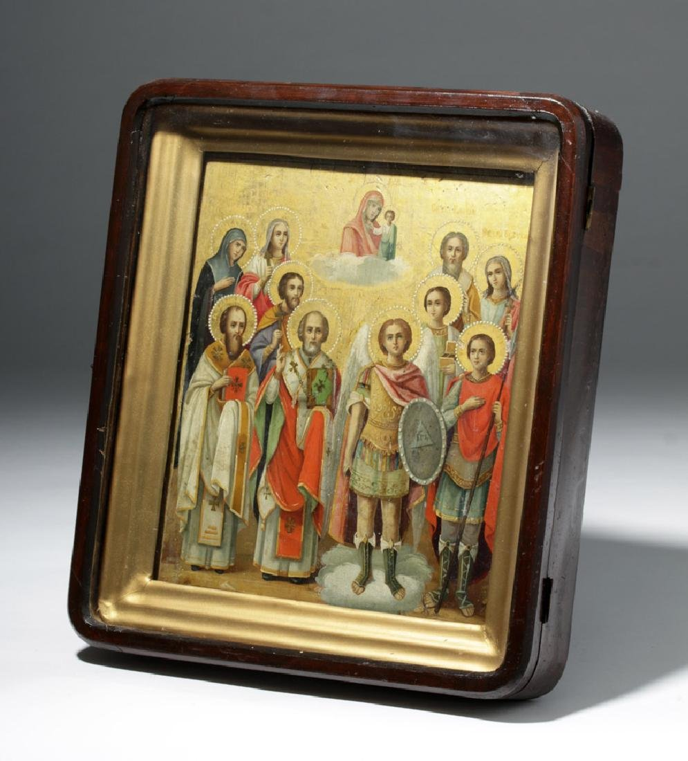 Framed 19th C. Russian Gilded Wood Icon - 10 Saints