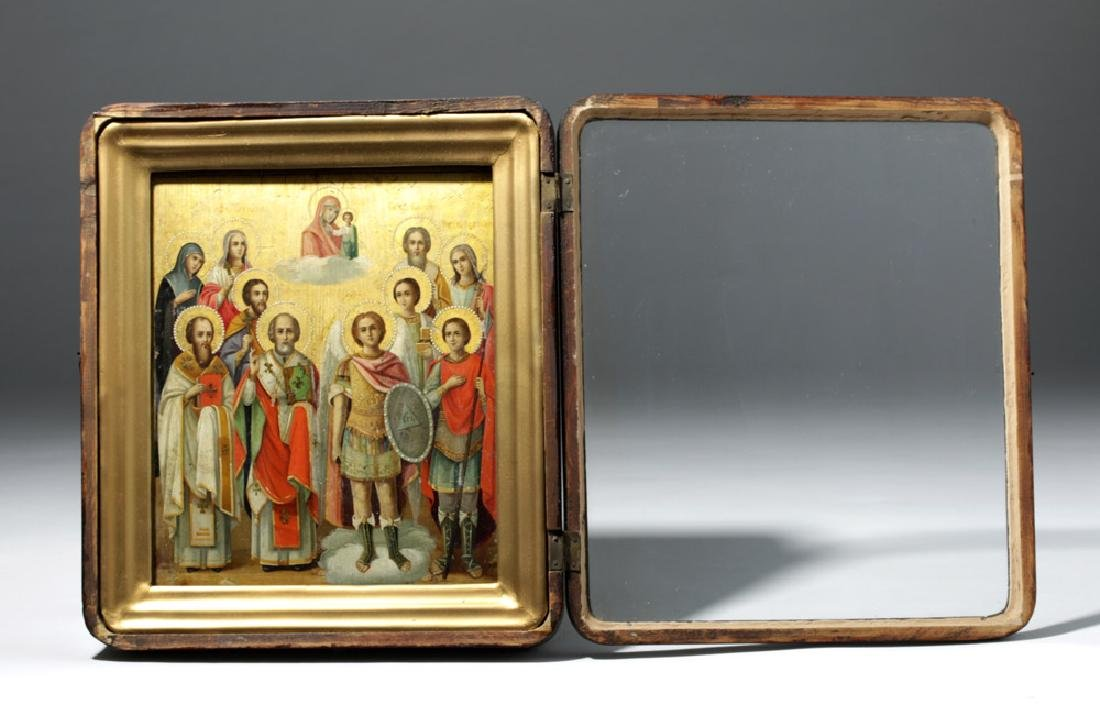 Framed 19th C. Russian Gilded Wood Icon - 10 Saints - 2
