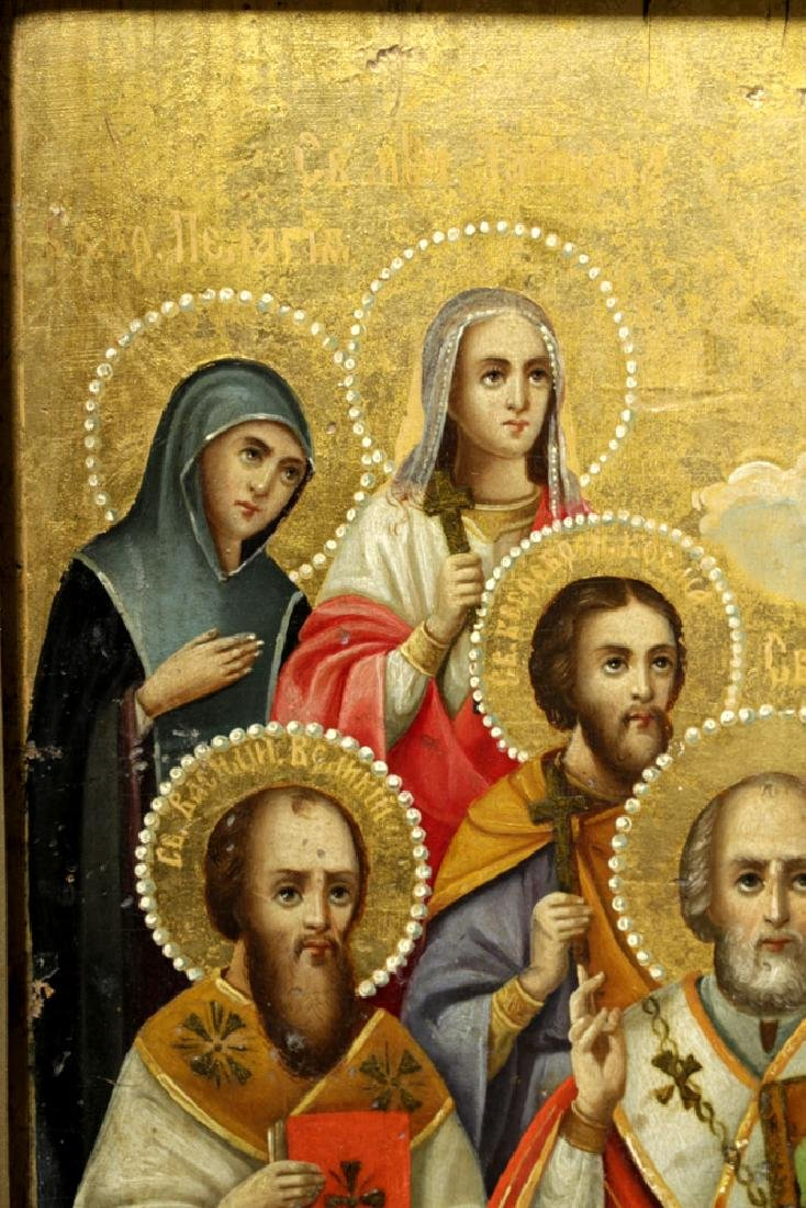 Framed 19th C. Russian Gilded Wood Icon - 10 Saints - 7