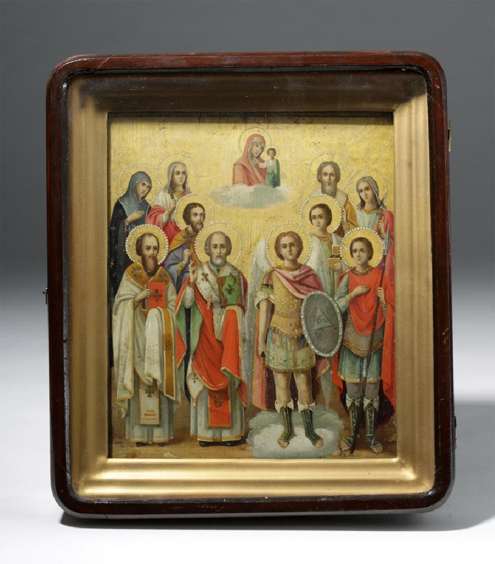 Framed 19th C. Russian Gilded Wood Icon - 10 Saints - 8