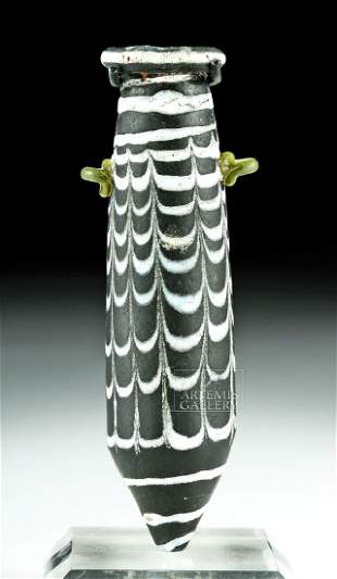 Greek Core-Formed Glass Alabastron - Black w/ White