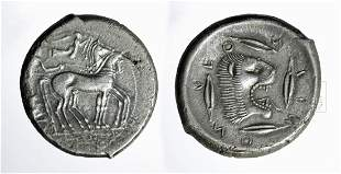 Rare Greek Sicily Leontini AR Tetradrachm