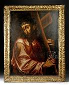 18th C. Spanish Colonial Painting, Jesus Carrying Cross