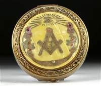 20th C. Masonic Bronze, Glass, & Shell Makeup Compact