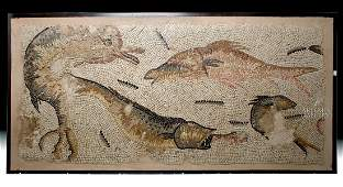 Huge Roman Stone Mosaic - Dolphins and Fish