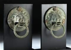 Roman Pair of Leaded Bronze Lion Head Handles