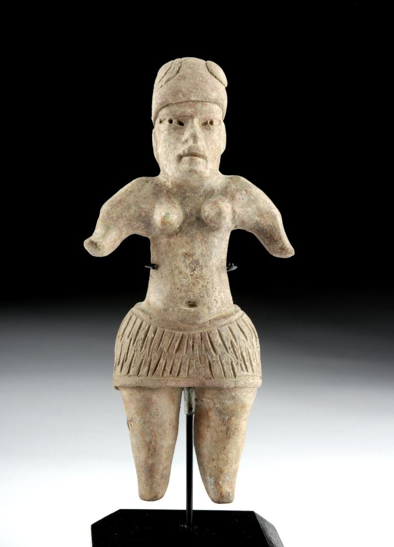 Olmec Terracotta Standing Woman in Skirt