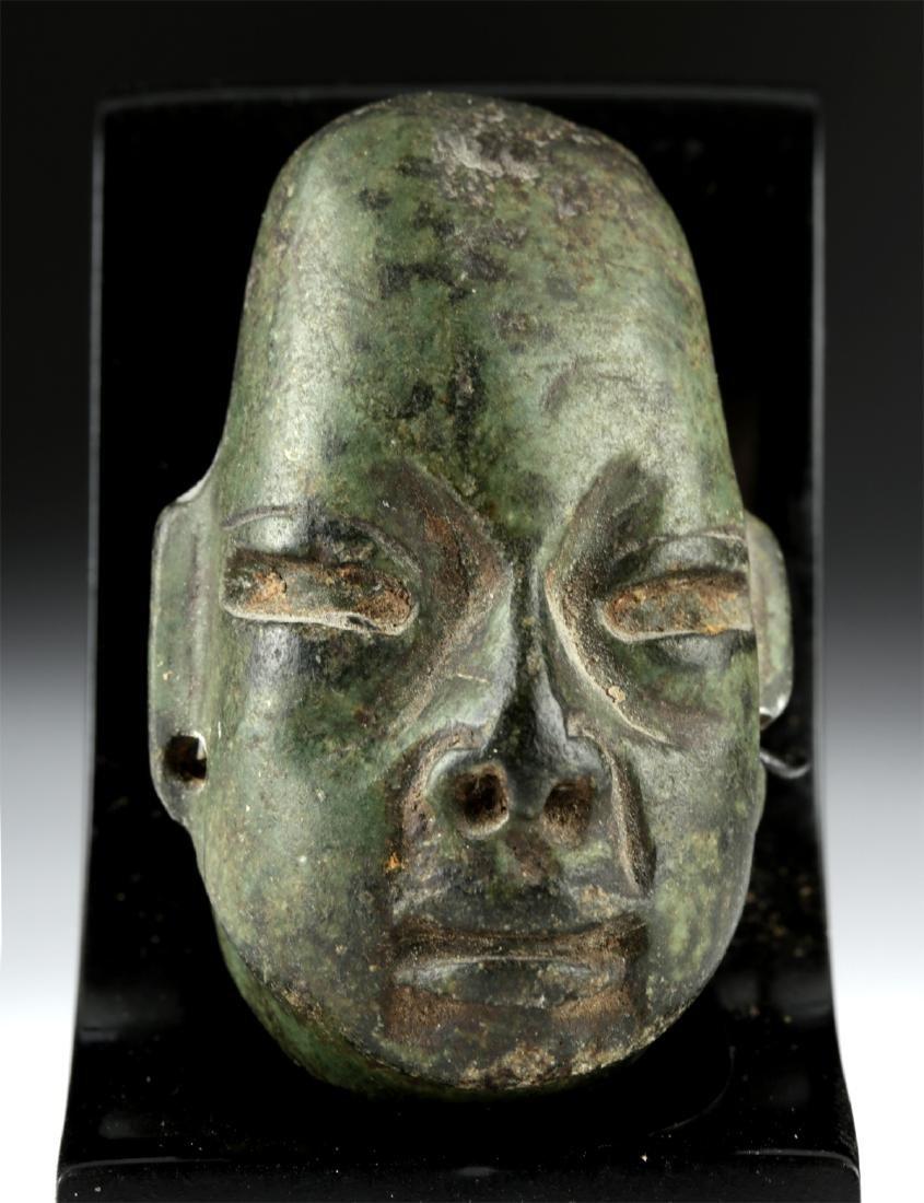 Lovely Olmec Greenstone Head Amulet