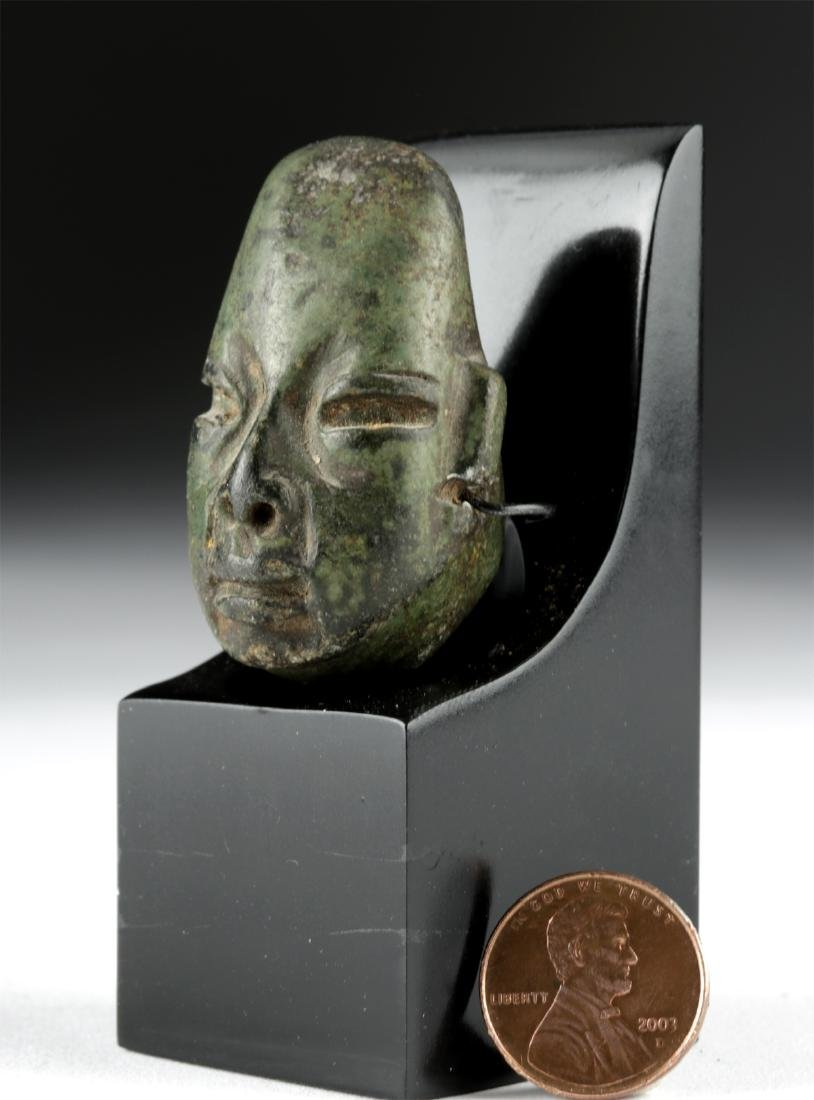 Lovely Olmec Greenstone Head Amulet - 2