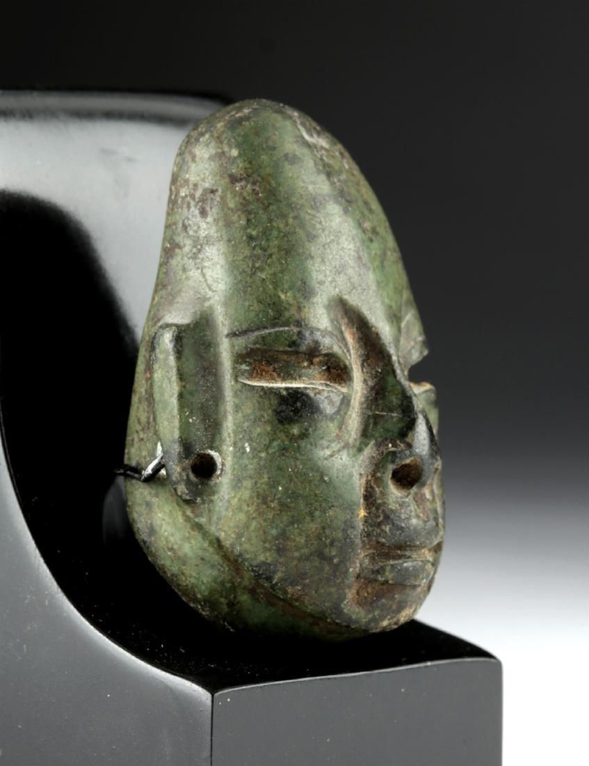 Lovely Olmec Greenstone Head Amulet - 3