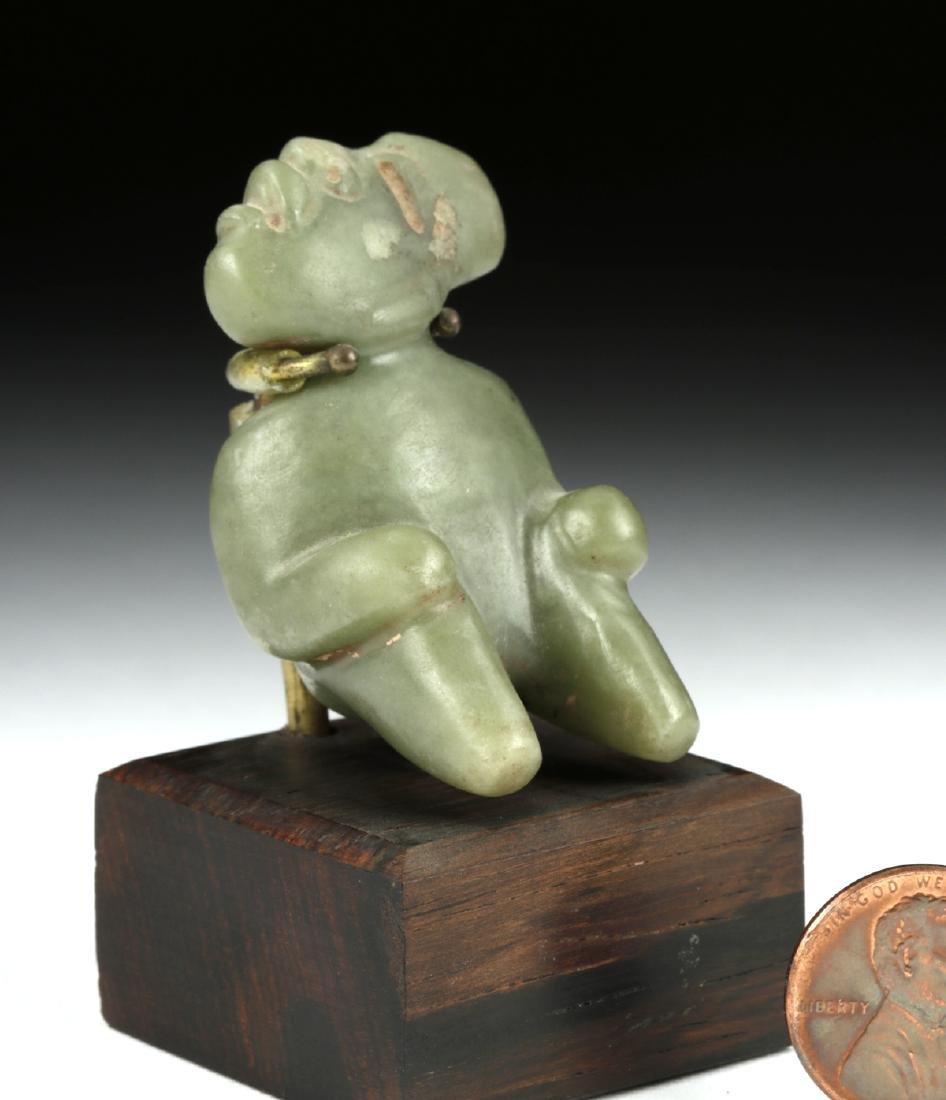 Important Olmec Jade Seated Figure - 2