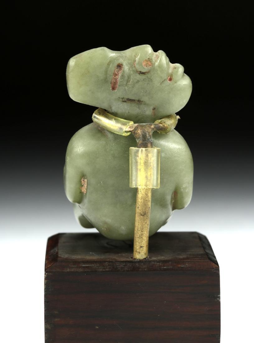 Important Olmec Jade Seated Figure - 4