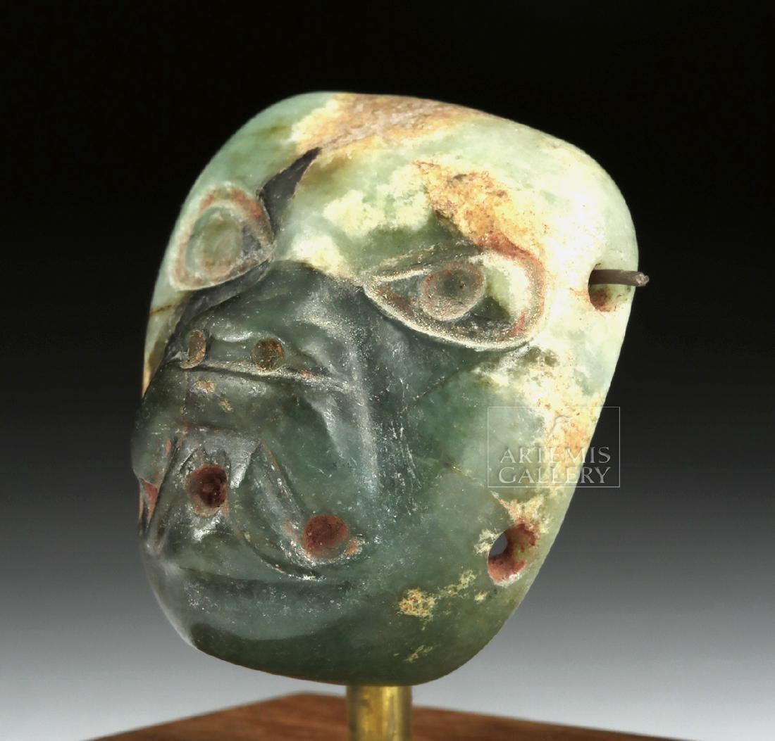 Stunning Miniature Olmec Jade Maskette - 2